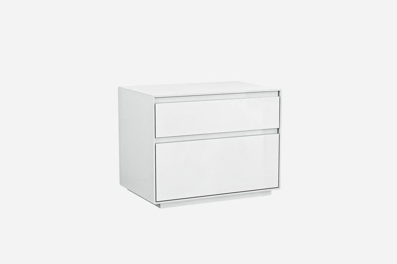 Malibu Night Stand, high gloss white, self close drawers
