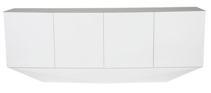 Marcella Buffet, 5mm Crystal pure tempered white glass top, High Gloss White, Touch latch doors, adjustable shelves, requires full assembly