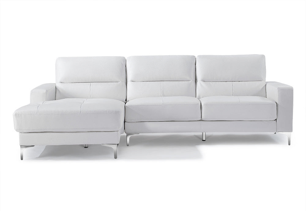 Memphis Sectional, chaise on left when facing, white bonded leather, fold out back cushions, chrome frame and legs.