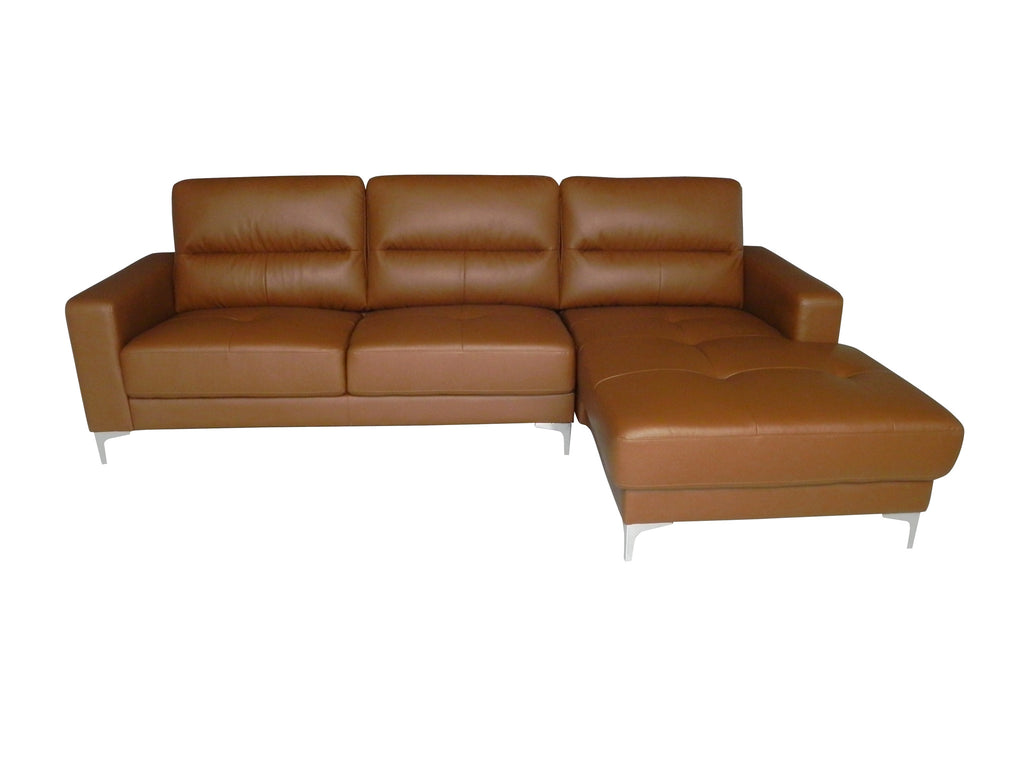 Memphis Sectional, chaise on right when facing, tan bonded leather, fold out back cushions, chrome frame and legs.