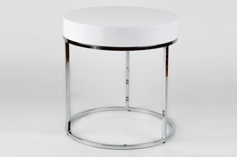 Mog side table, Matt White top, chrome frame
