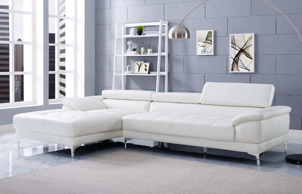 Monroe Sectional, chaise on right when facing, white bonded leather, chrome frame and legs, adjustable headrests.