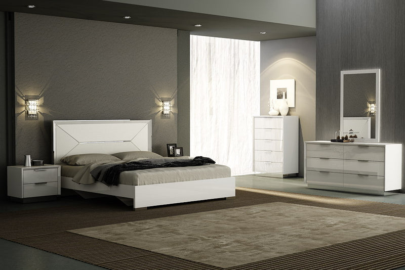 Navi Bed Queen, high gloss white, white faux leather headboard with stainless steel  accent, large drawer at footboard