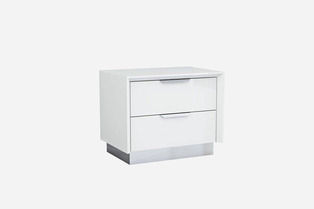 Navi Night Stand, high gloss white with stainless steel trim, 2 drawers with self-close runners, stainless steel handles