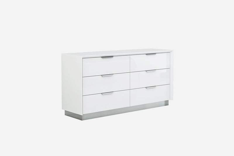 Navi Dresser Double, high gloss white with stainless steel trim, 6 drawers with self-close runners, stainless steel handles