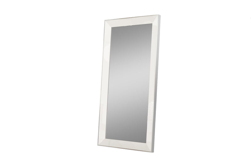 Navi Wall Mirror, high gloss white, stainless steel frame