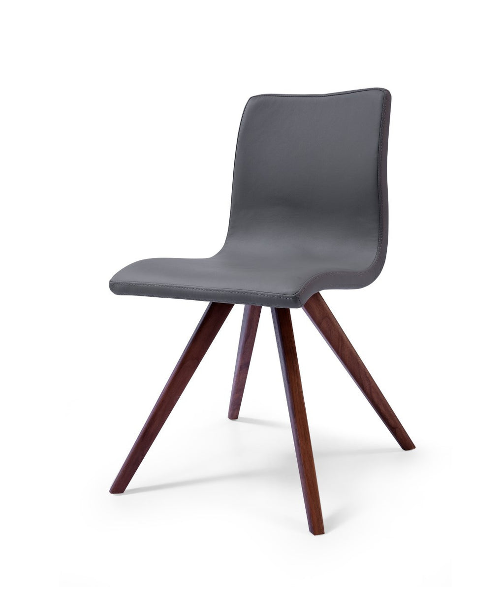 Olga Dining Chair, Gray Faux Leather, Natural walnut Solid Wood Legs