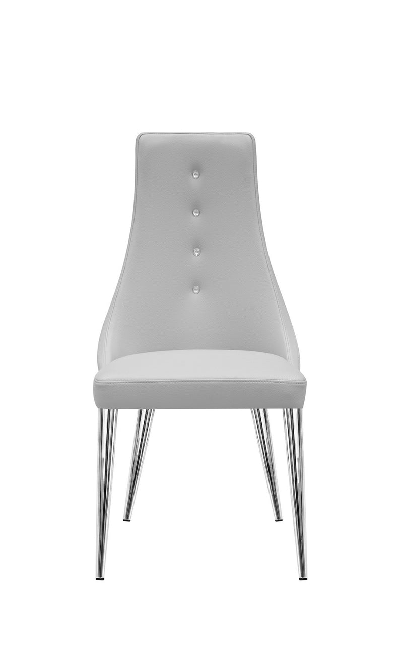Palacio Dining Chair, Taupe  faux leather, with crystal buttons in backrest, polished stainless steel legs.