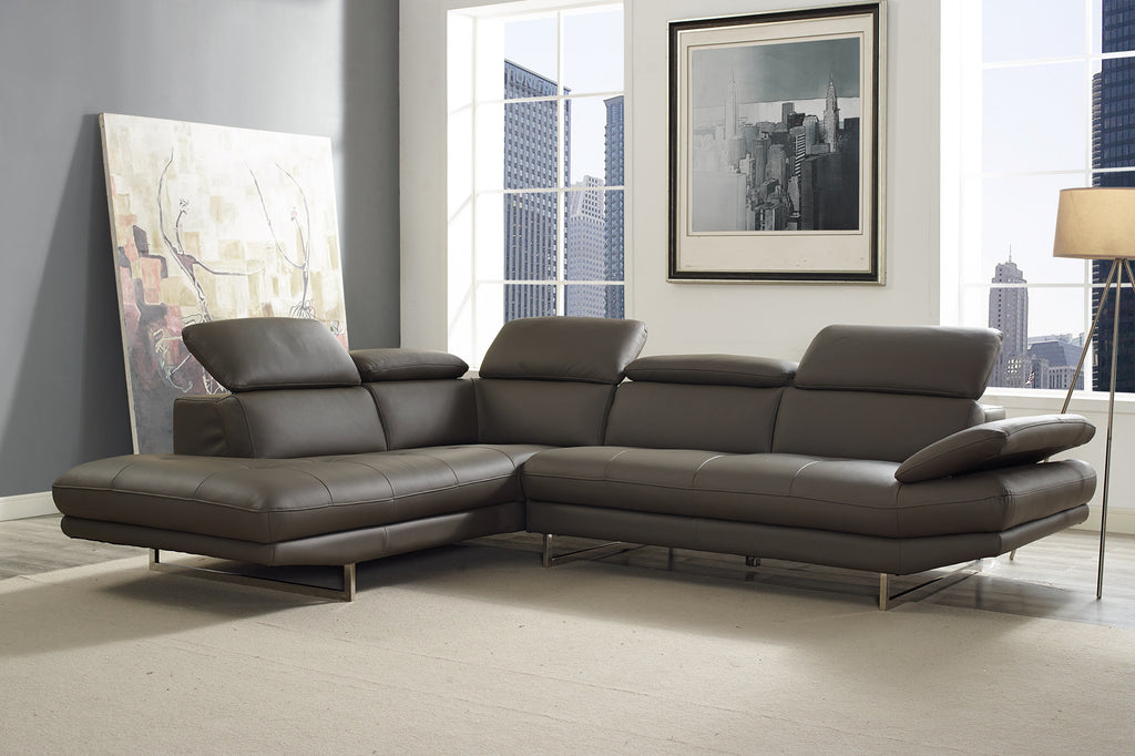Pandora Sectional, chaise on left when facing, dark gray top grain Italian leather, adjustable headrests, stainless steel legs.