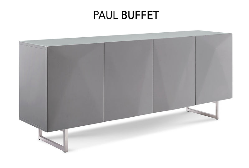 Paul Buffet, 5mm pure tempered gray glass top, high gloss gray, design on doors, metal legs with brushed nickel finish