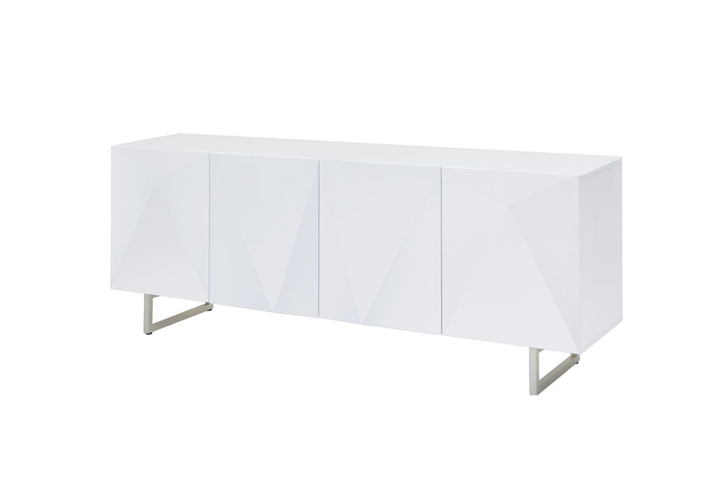 Paul Buffet, 5mm pure tempered white glass top, High Gloss White, Design on doors, Metal legs with brushed nickel finish