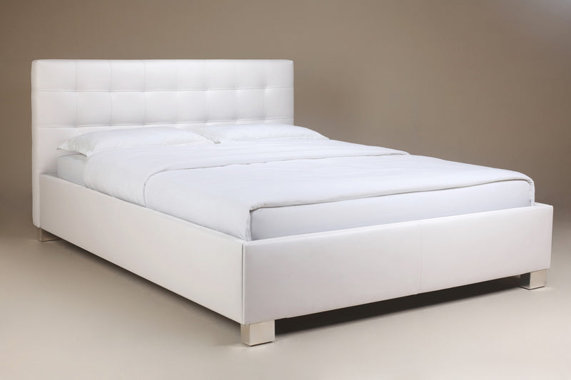 Phillip Bed King, White Faux Leather, tufted headboard, chrome feet.