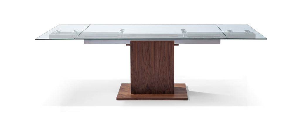 Pilastro Extendable Dining Table 10mm tempered clear glass top, stainless steel frame, walnut veneer base