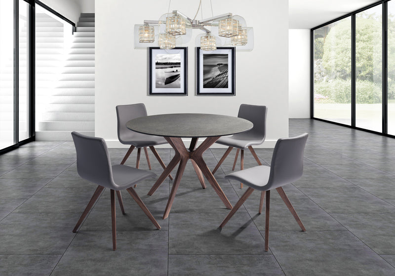 Redondo Round Dining Table glass and stone top