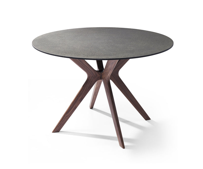 Redondo Round Dining Table glass and stone top, solid wood with walnut veneer base