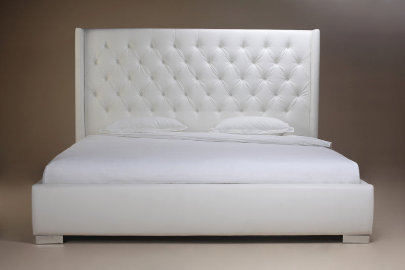 Regal Bed Queen, White Faux Leather, tufted headboard, chrome feet.