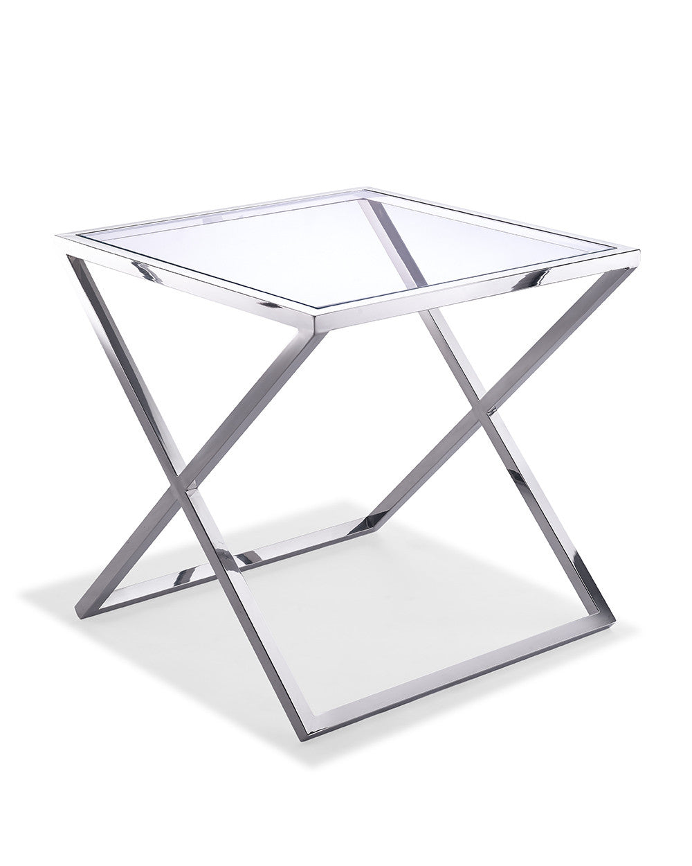 Ricci Side Table, clear glass, stainless steel base