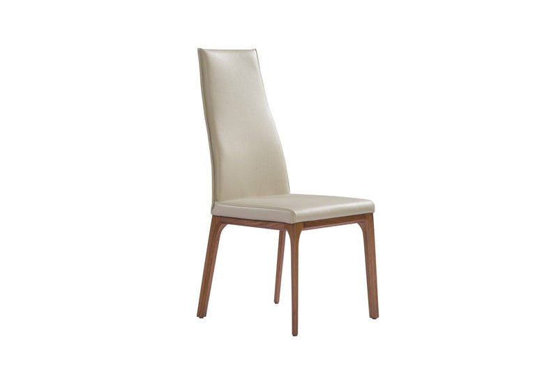 Ricky Dining Chair, taupe faux leather, solid wood with walnut veneer base frame.