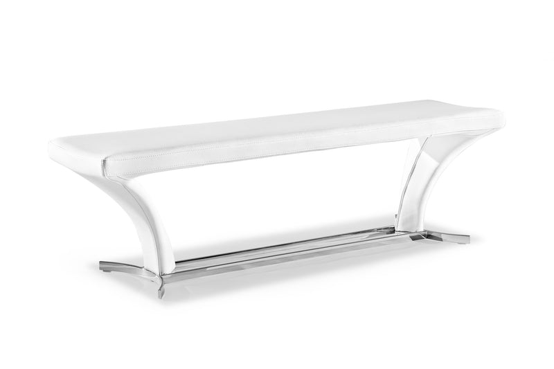 Rivera bench, pure white faux leather, polished stainless steel base