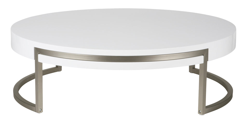Ross Coffee Table. High gloss white, Metal frame with brushed nickel finish