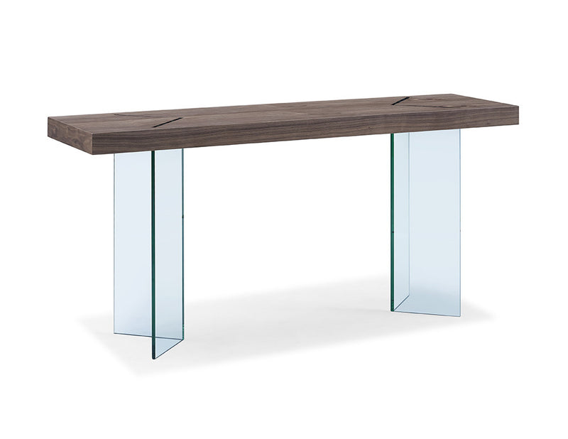 Roxana Console, walnut veneer top with clear glass base