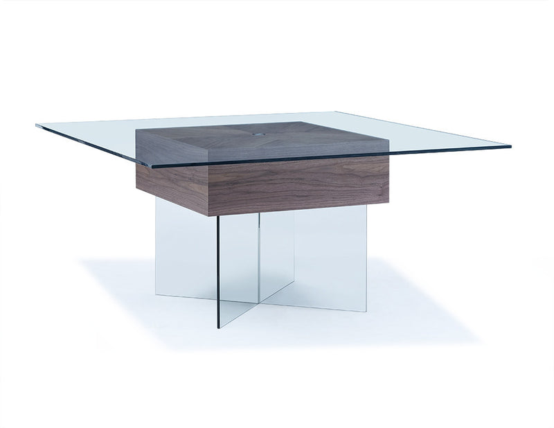 Roxana Dining Table, clear glass top and clear glass base with walnut veneer center