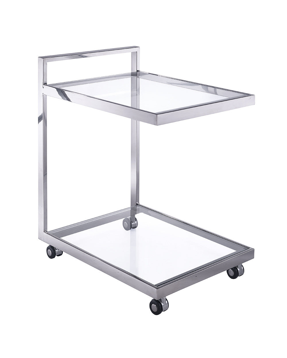 Sandra Side Table/ Bar Cart, clear glass, stainless steel base on castors