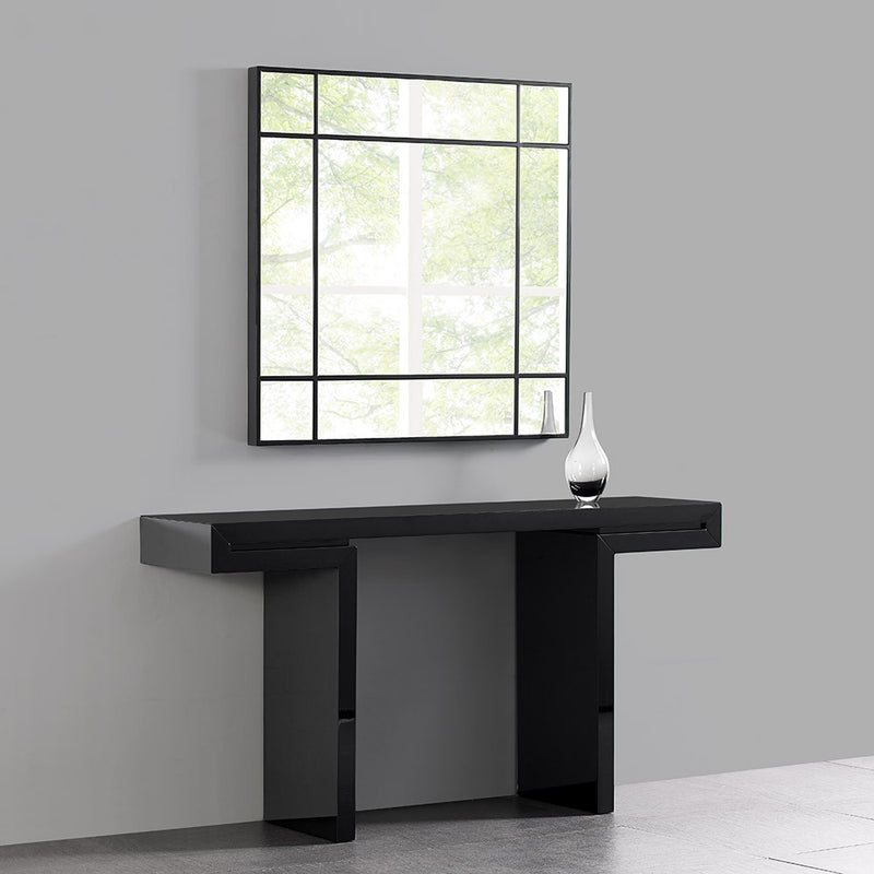 Sebastian square mirror, High gloss black trim