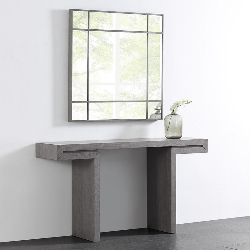 Sebastian square mirror, gray oak  veneer trim