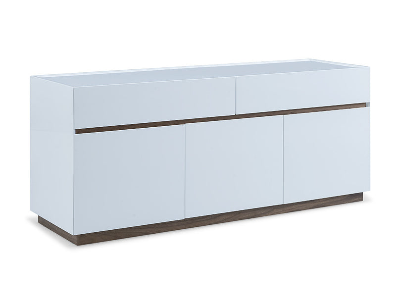 Serena Buffet, high gloss white with walnut veneer accent trim and base, 2 large drawers and 3 doors with self-closing hardware, 1 wooden shelf inside each door