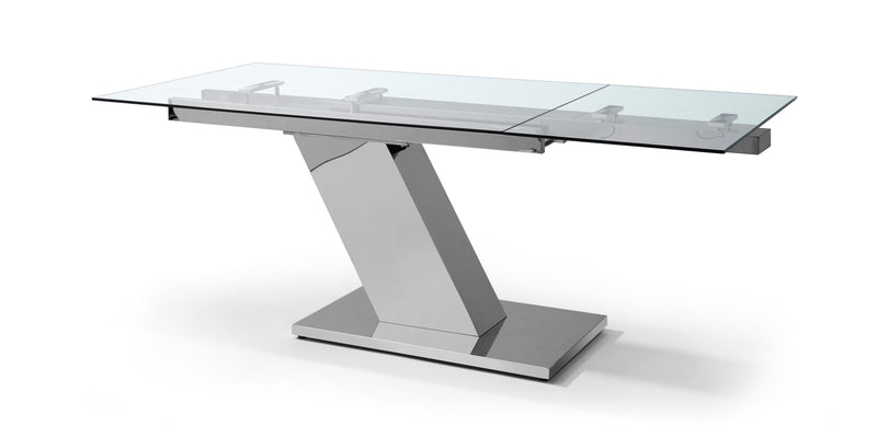 "sleek extendable dining table 1/2"" tempered clear glass top"