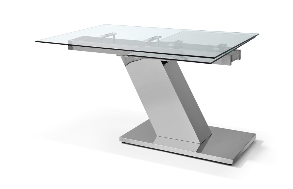 "Sleek Extendable Dining Table 1/2"" tempered clear glass top, aluminum plates, stainless steel base"