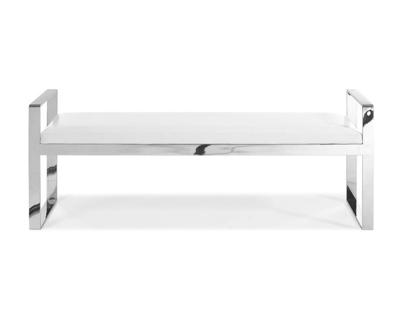 Sorrento Bench, white faux leather, stainless steel base