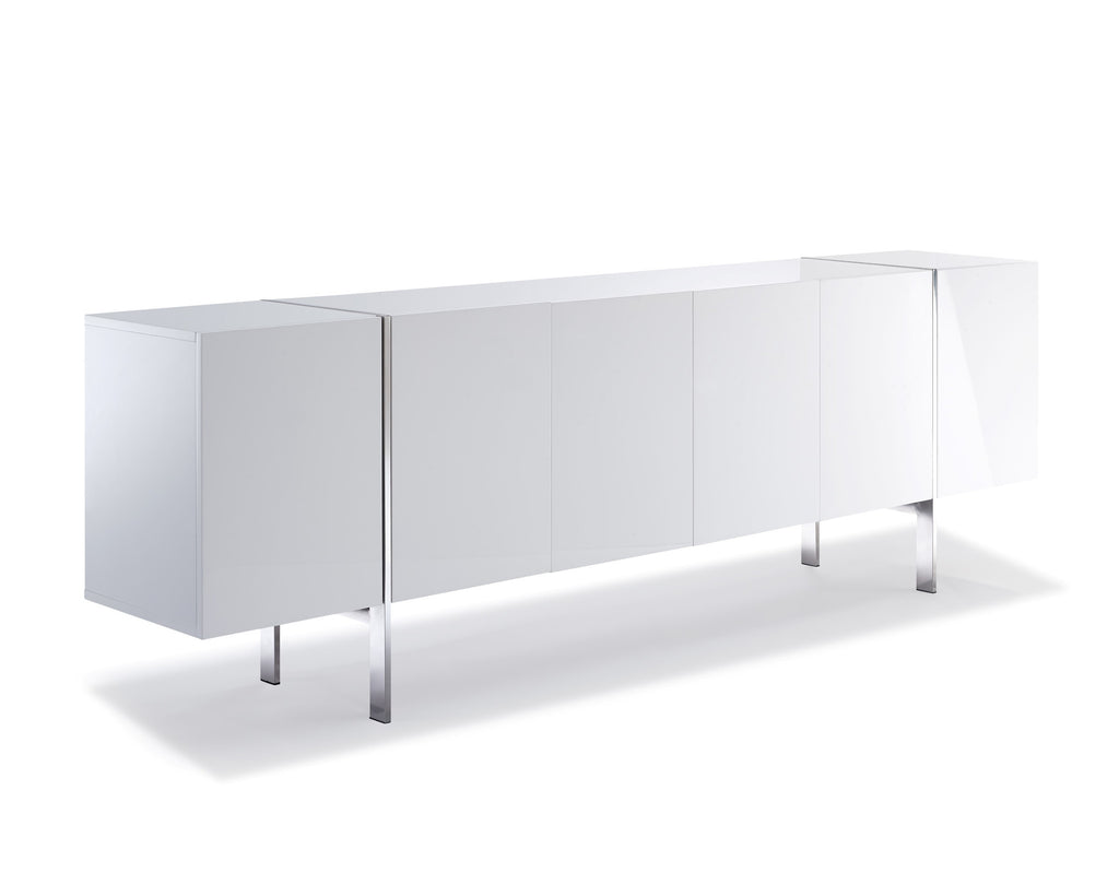 Struttura Buffet Large, high gloss white, adjustable shelves, polished stainless steel legs.