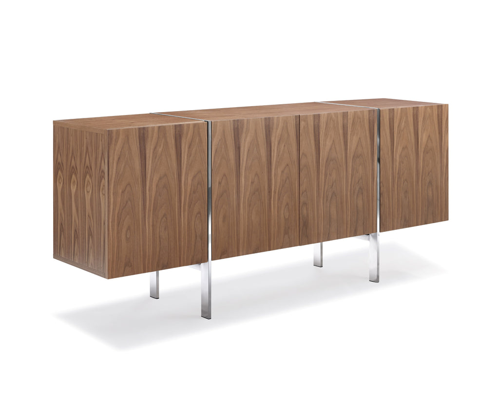 Struttura Buffet Small, walnut veneer, adjustable shelves, polished stainless steel legs.