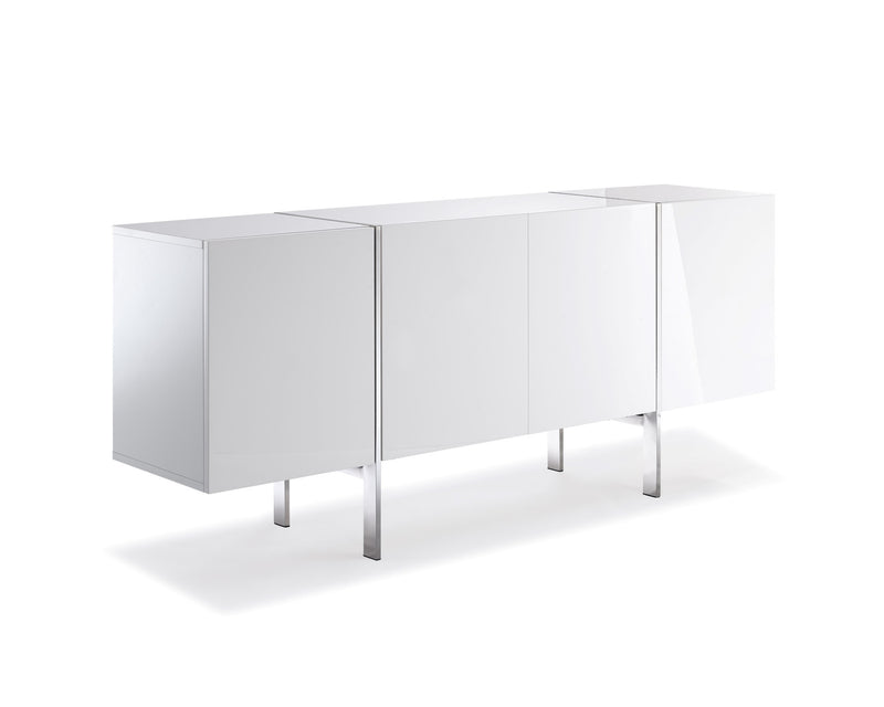 Struttura Buffet Small, high gloss white, adjustable shelves, polished stainless steel legs.