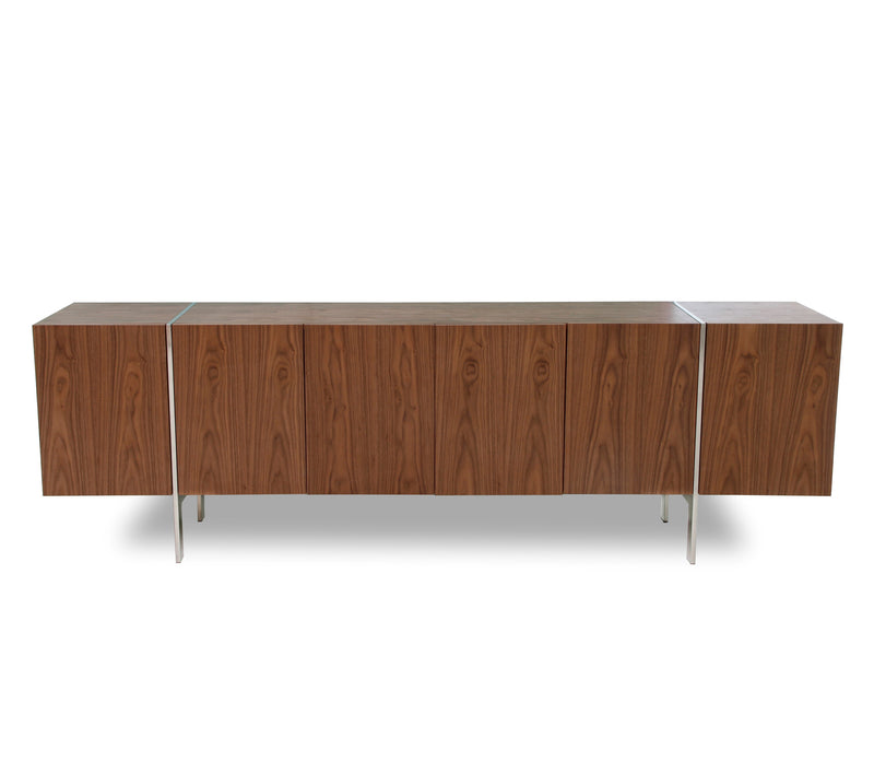 Struttura Buffet Large, walnut veneer, adjustable shelves, polished stainless steel legs.