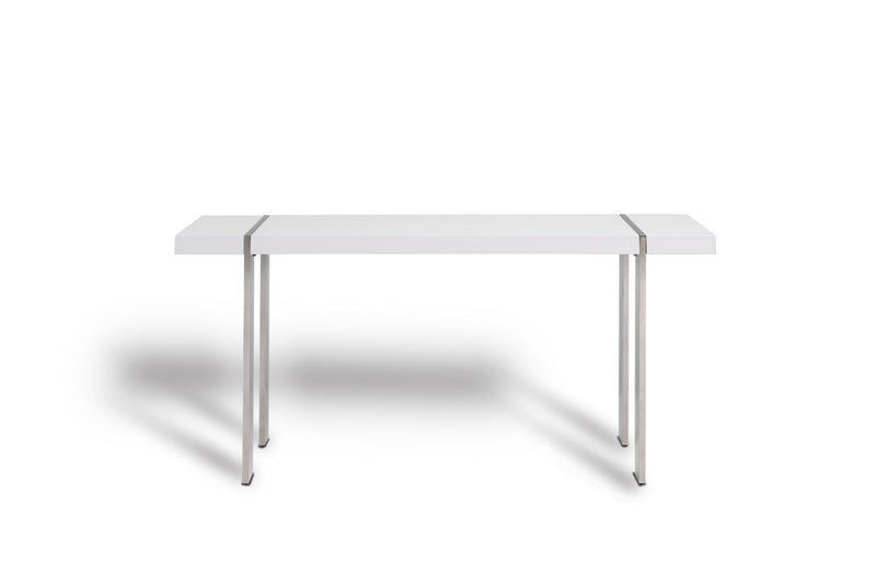 Struttura Console, high gloss white, polished stainless steel legs.
