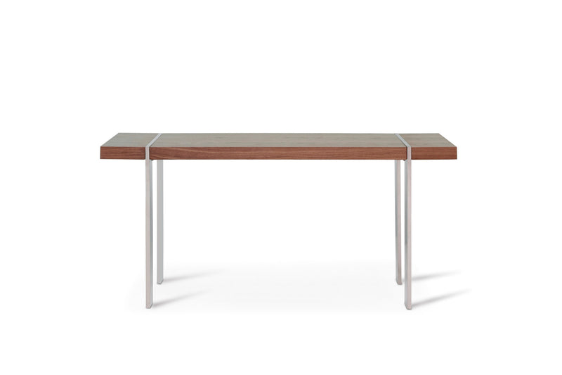 Struttura Console, walnut veneer, polished stainless steel legs.