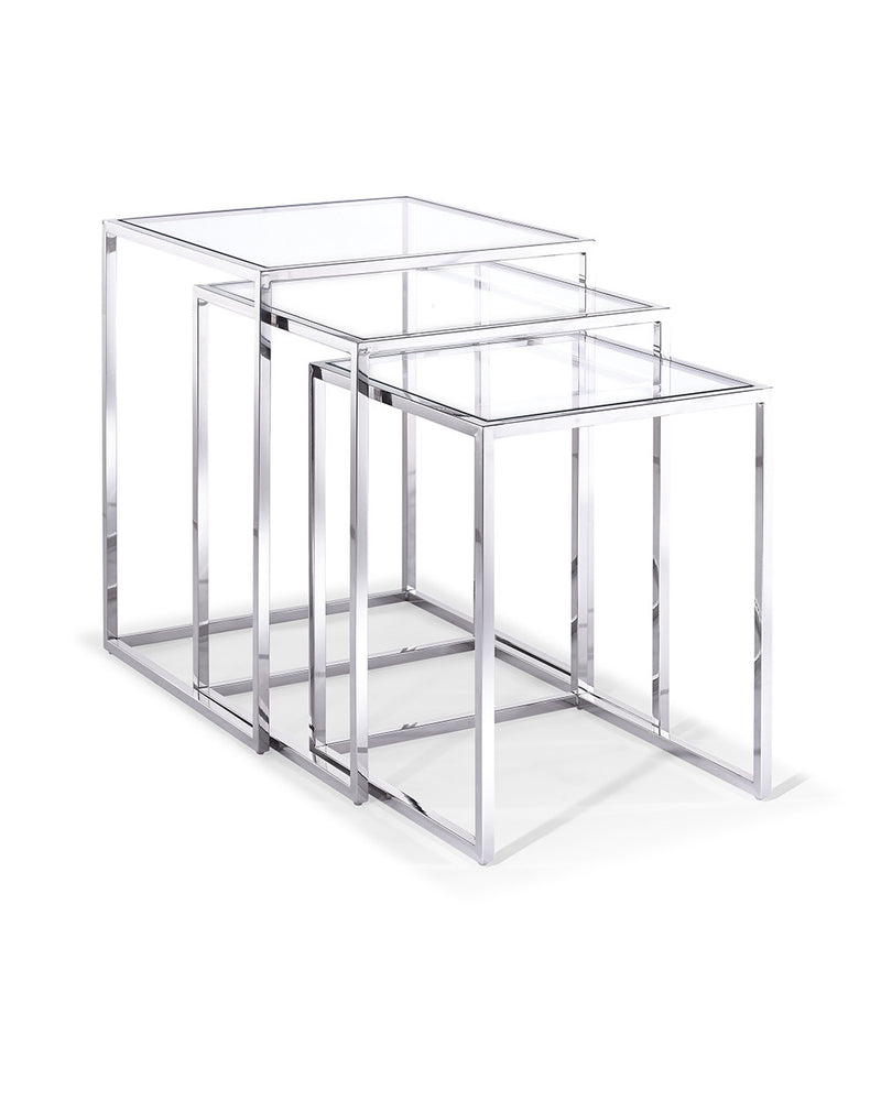 Terzi Nesting Side Tables, clear glass, stainless steel base, set of 3