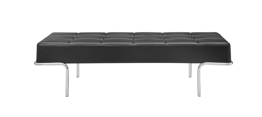 Tuscan Bench, Black faux leather, polished stainless steel frame.