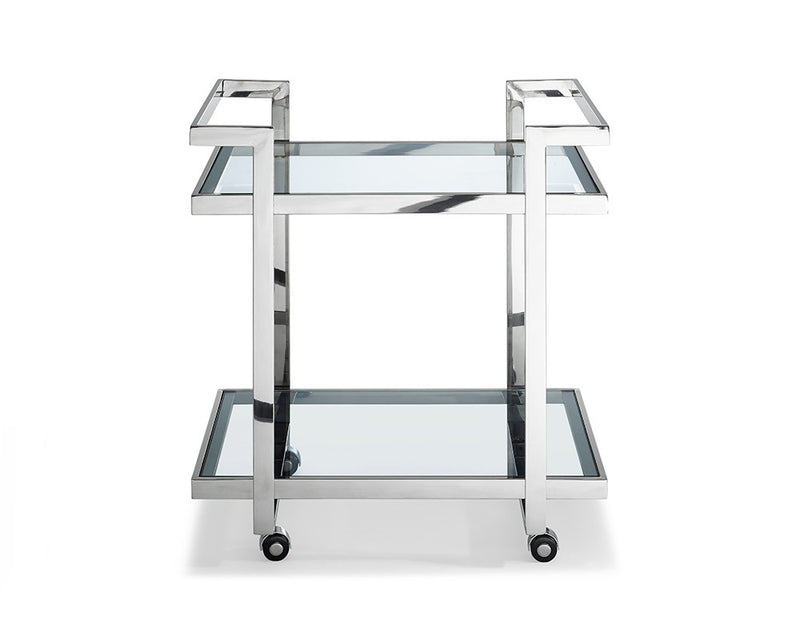 Vegas Side Table/ Bar Cart, clear glass, stainless steel base on castors
