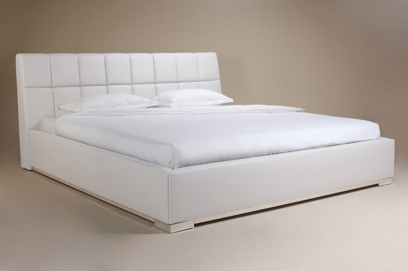 William Bed Queen, White Faux Leather, tufted headboard, chrome feet.