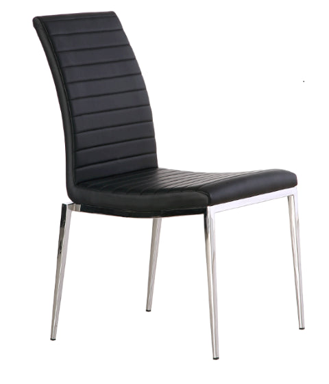 Zoe Dining Chair, Black Faux Leather tufted Stripes, Chrome frame