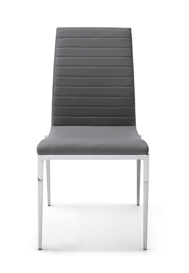 Zoe Dining Chair, Gray Faux Leather tufted Stripes, Chrome frame