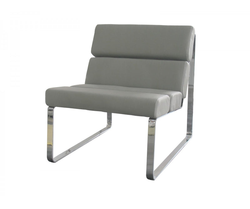 Angel Chair, gray faux leather, chrome frame