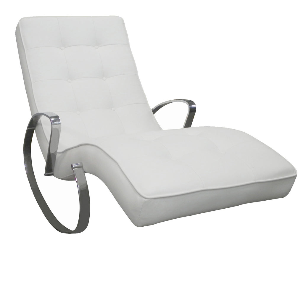 Christiane Rocker Chaise, White faux leather, Chrome frame