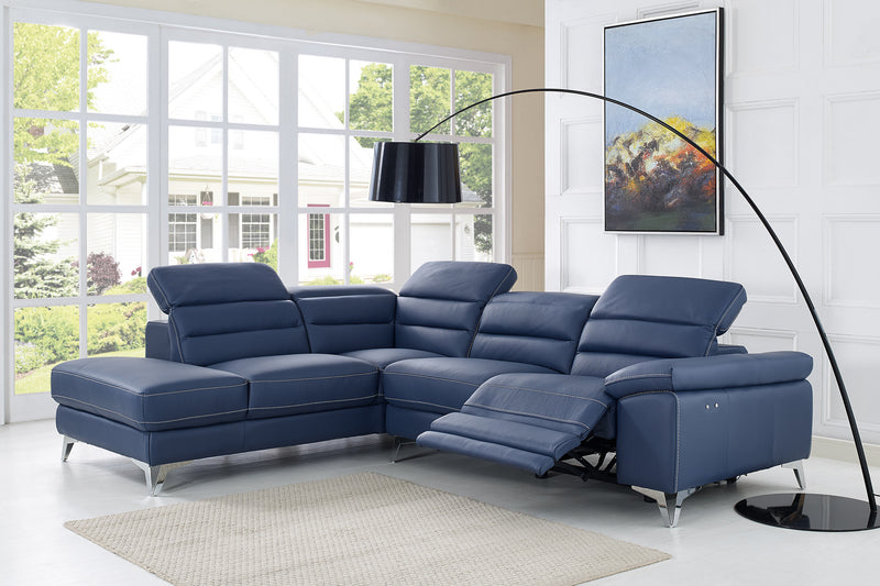 Johnson Sectional, chaise on left when facing, navy blue top grain Italian leather, electric recliner function, adjustable headrests,  stainless steel legs.