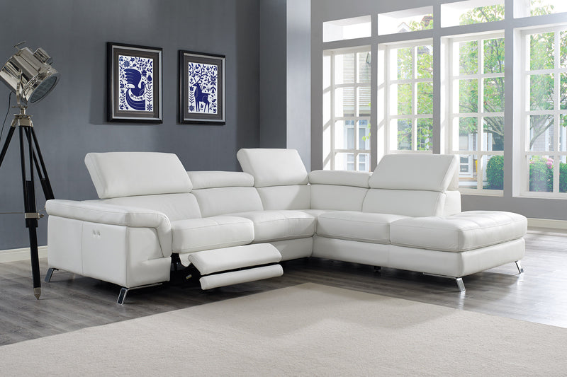 Madison Sectional, chaise on right when facing, white top grain Italian leather, electric recliner function, adjustable headrests,  stainless steel legs.