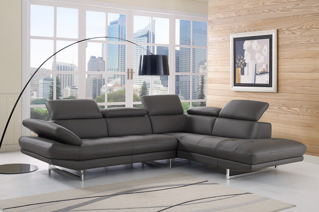 Pandora Sectional, chaise on right when facing, dark gray top grain Italian leather, adjustable headrests,  stainless steel legs.